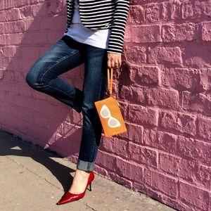 ORA DELPHINE Orange Leather Sunglasses Pouch New